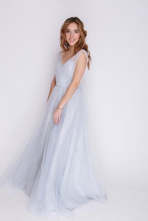 Блакитна сукня в підлогу з пайєтками та глибоким вирізом в прокат и oренду в Киiвi. Фото 1
