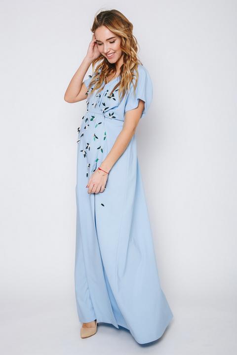 Голубое платье в пол с коротким рукавом