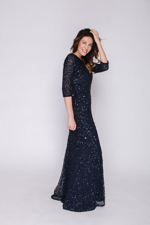 Темно-синее платье в пол в пайетках