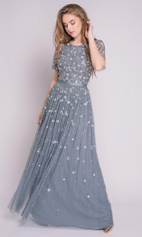 Платье расшитое пайетками винтажно-голубого цвета