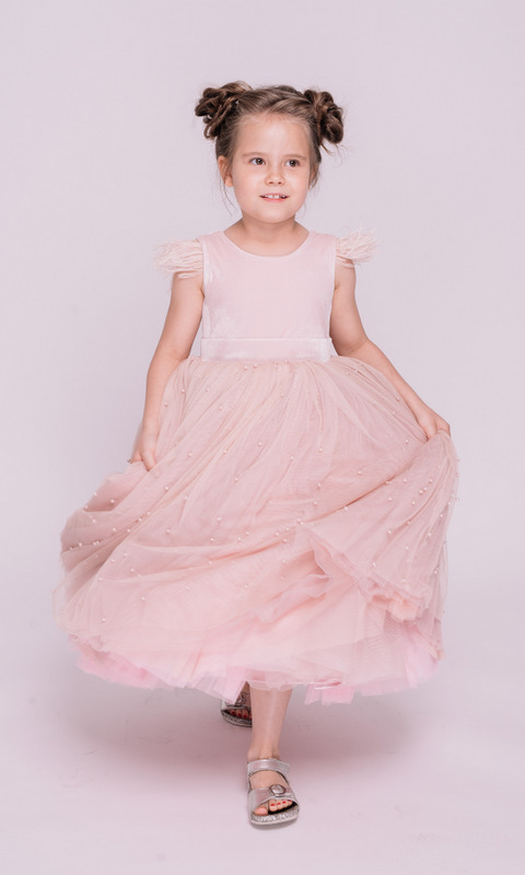 Детское розовое платье с бусинами в прокат и аренду в Киеве, Одессе, Харькове. Фото 3