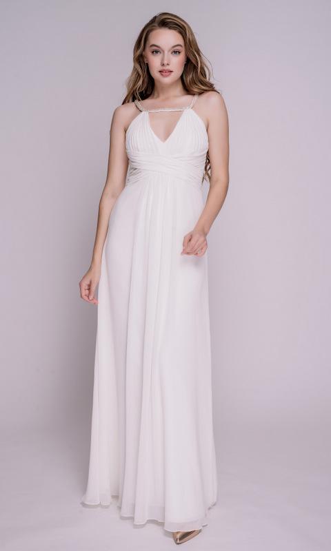 Платье в пол молочного цвета с бретелями из бисера