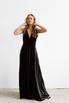 Черное бархатное платье в пол с глубоким вырезом на спине и декольте в прокат и аренду в Киеве. Фото 1