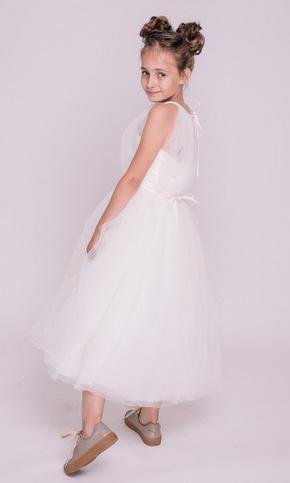 Дитяче біле плаття міді з відкритими плечима в прокат и oренду в Киiвi. Фото 1