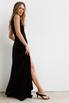 Черное бархатное платье в пол с глубоким вырезом на спине и декольте в прокат и аренду в Киеве. Фото 5