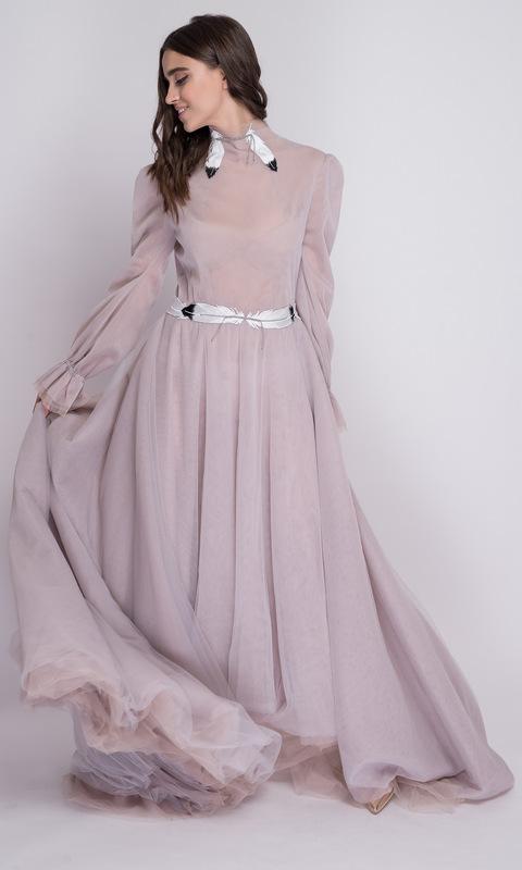 Серое платье в пол с рукавами