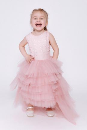 Дитяче рожеве плаття зі спідницею каскад і шкіряним верхом в прокат и oренду в Киiвi. Фото 1