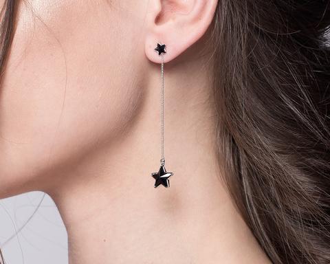 Серьги черные звезды на цепочке