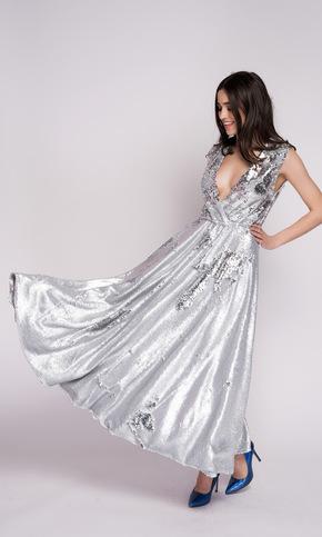 Срібне плаття міді в пайєтках зі спідницею сонце в прокат и oренду в Киiвi. Фото 1