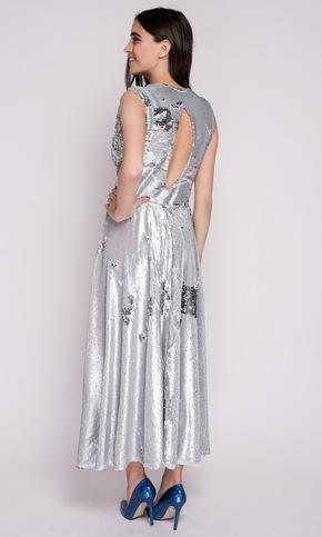 Срібне плаття міді в пайєтках зі спідницею сонце в прокат и oренду в Киiвi. Фото 2