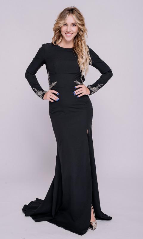 Черное платье в пол с длинным рукавом и открытой спиной в прокат и аренду в Киеве, Одессе, Харькове. Фото 3
