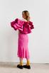 Платье миди ярко-розового цвета с принтом и обьемными воланами на рукавах в прокат и аренду в Киеве. Фото 5