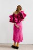 Платье миди ярко-розового цвета с принтом и обьемными воланами на рукавах в прокат и аренду в Киеве. Фото 6