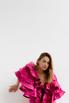 Платье миди ярко-розового цвета с принтом и обьемными воланами на рукавах в прокат и аренду в Киеве. Фото 8