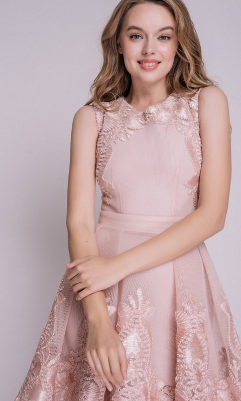 Пудровое платье с вышивкой