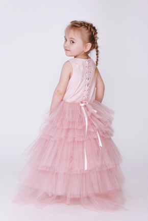 Дитяче рожеве плаття зі спідницею каскад і шкіряним верхом в прокат и oренду в Киiвi. Фото 2