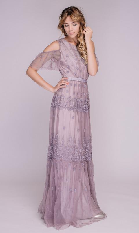 Платье из фатина цвета пыльная- лаванда