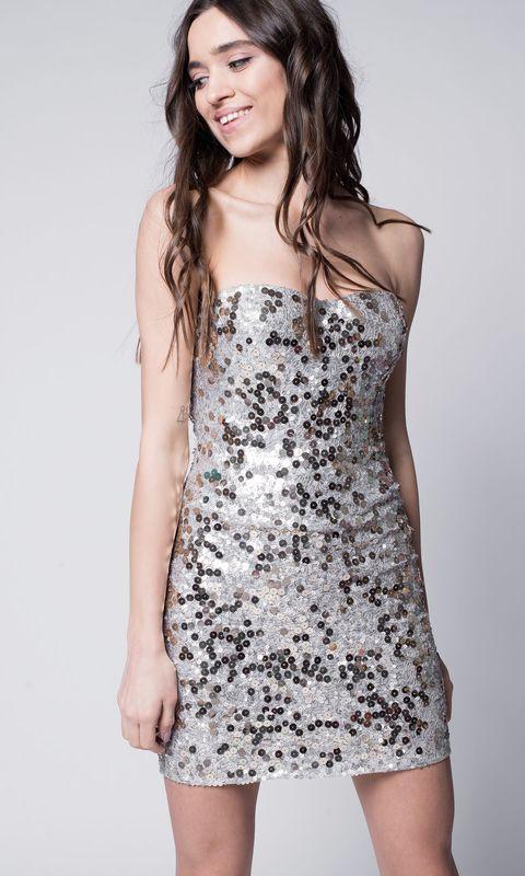 Платье мини в пайетках с открытым верхом