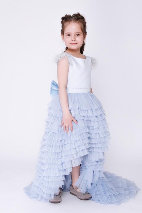 Детское голубое многослойное платье