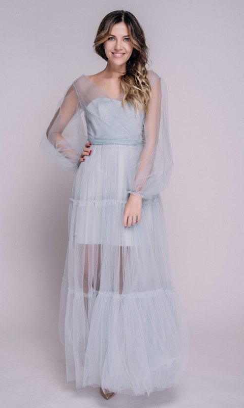 Комбинированное голубое платье