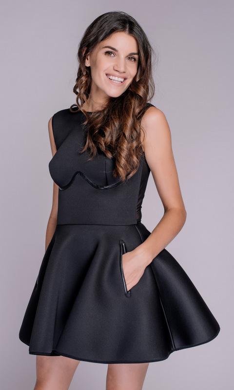 Черное неопреновое платье мини