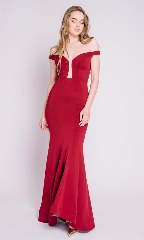 Бордовое платье в пол с открытой спиной