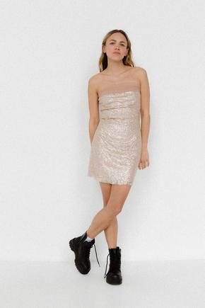 Блискуче плаття бюст'є міні бежевого кольору в прокат и oренду в Киiвi. Фото 1