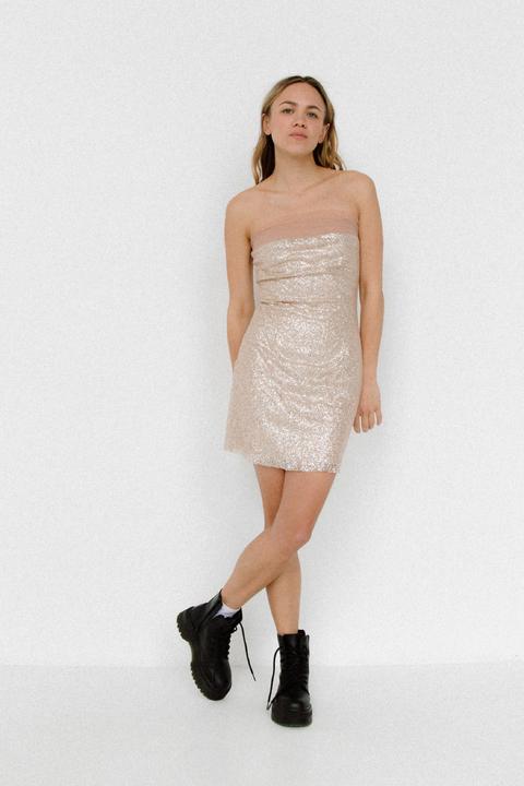 Блестящее платье бюстье мини бежевого цвета