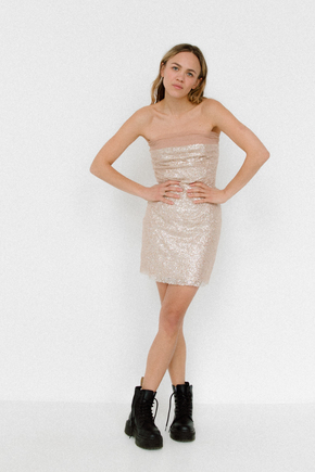 Блискуче плаття бюст'є міні бежевого кольору в прокат и oренду в Киiвi. Фото 2
