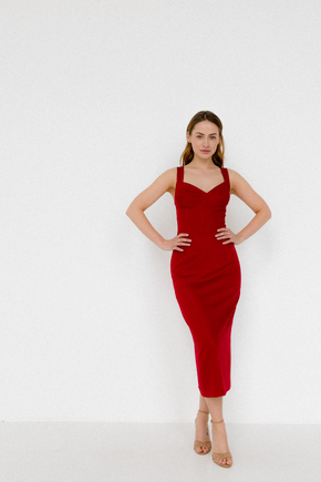 Червона сукня футляр з атласу на бретелях в прокат и oренду в Киiвi. Фото 2