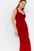 Красное платье футляр из атласа на бретелях в прокат и аренду в Киеве. Фото 1