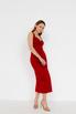 Красное платье футляр из атласа на бретелях в прокат и аренду в Киеве. Фото 3