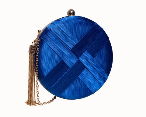 Синий атласный клатч круглой формы