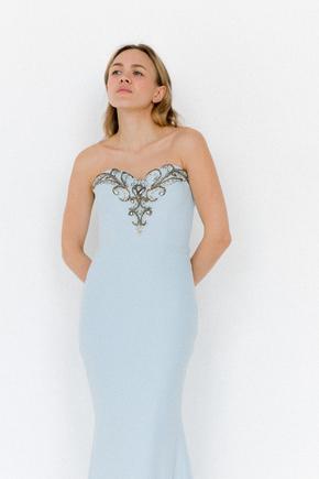 Синє плаття-бюстьє розшите камінням з фігурним вирізом в прокат и oренду в Киiвi. Фото 2