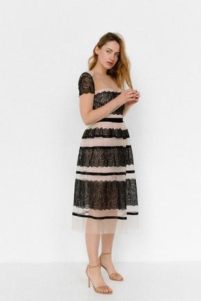 Бежева сукня міді прозоре з чорною вишивкою в прокат и oренду в Киiвi. Фото 2