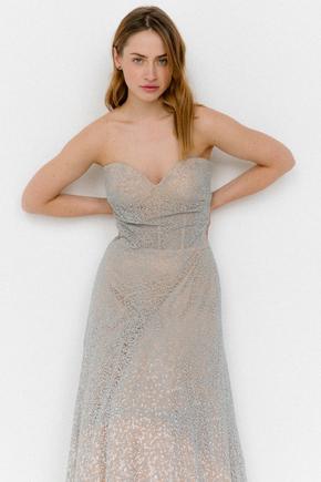 Сіра пишна сукня-бюстьє з бісеру в прокат и oренду в Киiвi. Фото 2