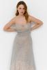 Серое пышное платье-бюстье из бисера в прокат и аренду в Киеве. Фото 2