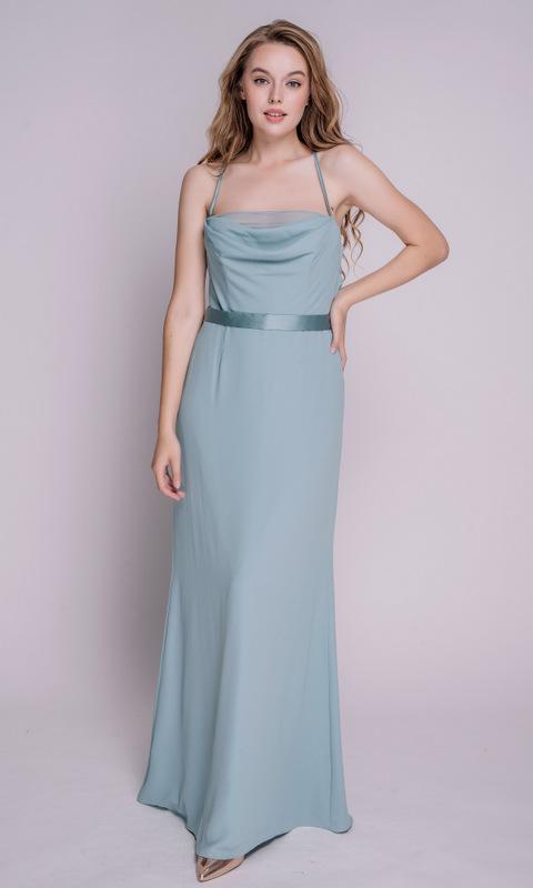 Серо- голубое платье в пол на бретелях