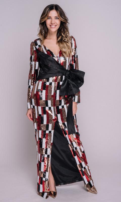 Платье в пайетках в геометрический принт с бантом