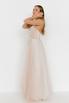 Бежевое платье из фатина с апликацией из цветов в прокат и аренду в Киеве. Фото 4