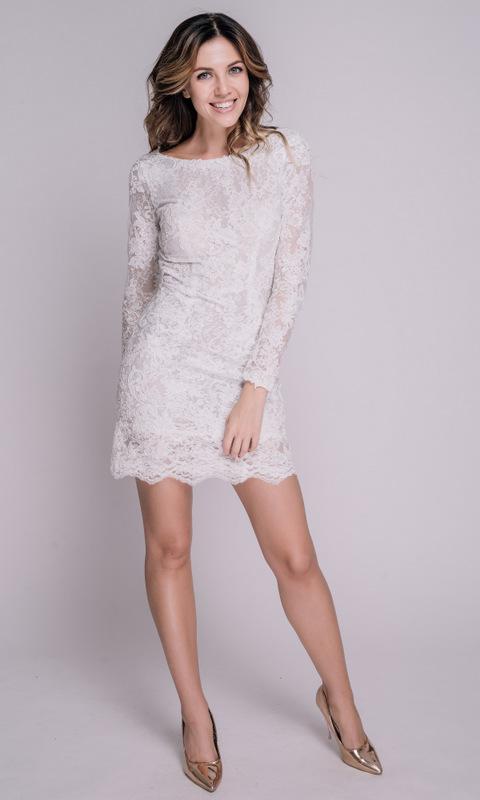 Белое кружевное платье мини с длинным рукавом