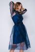 Синее комбинированное платье в горох с поясом в прокат и аренду в Киеве. Фото 1