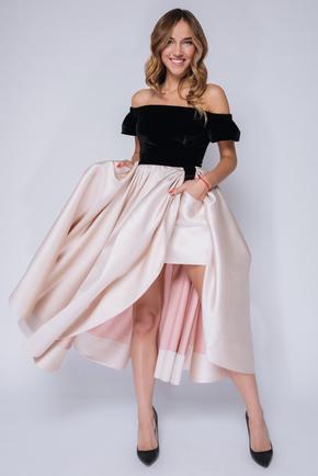 Сукня міді з оксамитовим верхом і бежевою спідницею в прокат и oренду в Киiвi. Фото 2