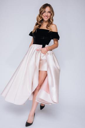 Сукня міді з оксамитовим верхом і бежевою спідницею в прокат и oренду в Киiвi. Фото 1