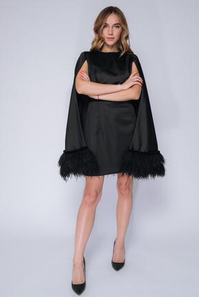 Чорна сукня міні з кейпом і пір'ям в прокат и oренду в Киiвi. Фото 1