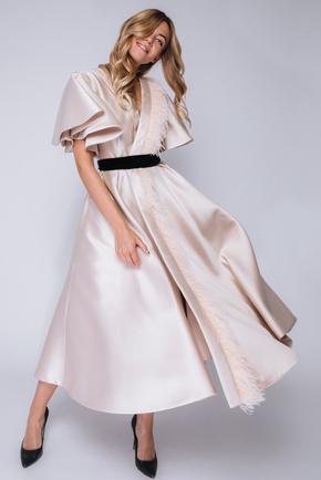 Бежева сукня міді на запах з воланами і пір'ям в прокат и oренду в Киiвi. Фото 2