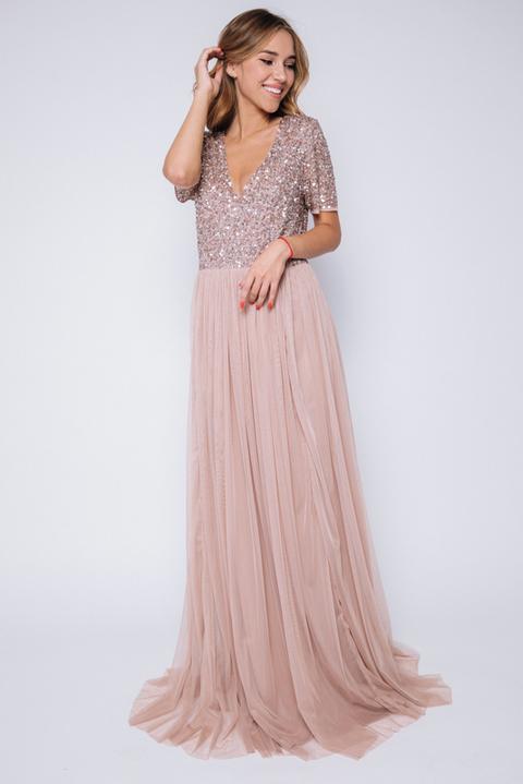 Бежевое платье в пол с пайетками