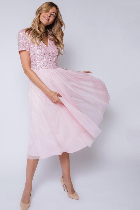 Розовое платье миди из фатина с пайетками