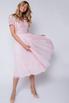 Розовое платье миди из фатина с пайетками в прокат и аренду в Киеве. Фото 1