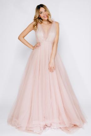 Рожеве плаття в підлогу з глибоким вирізом в прокат и oренду в Киiвi. Фото 2